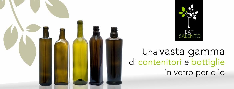 Una vasta gamma di contenitori e bottiglie in vetro per olio.